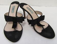 PRADA Black Satin Bow Thong Sandal Heels Size 38.5