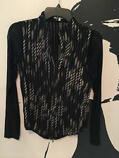 OBSTINEE Womens Stretch Zip Front-Shiny Black Gold Jacket Size 6