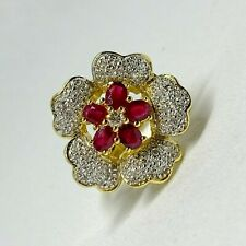 18K / 750 YELLOW GOLD RUBY RING WITH DIAMOND D26-0.26CTS 7.92GRAMS