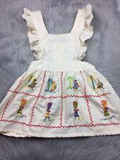 Vintage Cream Embroidered Ethnic Ruffle Pinafore Apron Tunic Top Sz Medium