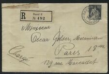 1923 Switzerland Registered Cover - Scott #143 - Basel to Paris