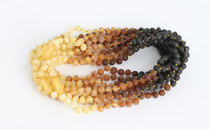 """BALTIC AMBER NECKLACES Lot of 10 Raw Rounded Amber Bead Rainbow Necklace 13,15"""""""