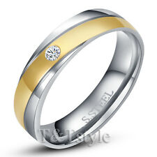 T&T 14K Gold GP 316L Stainless Steel Engagement Wedding Band Ring Size 5 (R130)