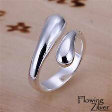 New 925 Sterling Silver Filled Ring 2 Ends Golf Open Band Women's Size 6 7 8