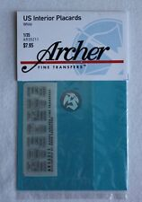 Archer 1/35 US AFV Interior Placards (Black on White Background) (for 2) AR35211