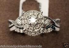 White Gold Halo Vintage Flower Style Round Diamonds Bridal Set Wedding Ring Band