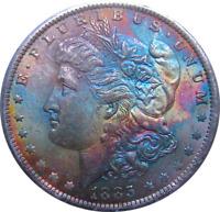 1885-O Morgan Dollar, Monster Rainbow Toning, Old Rattler Holder, PCGS MS 63 CAC