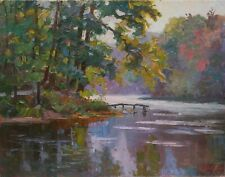 Original Quiet Morning on River Ukraine Landscape Oil Painting Impressionism ART
