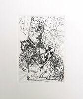 Salvador DALI El Cid Plate Signed Restrike Etching Engraving 15 x 11