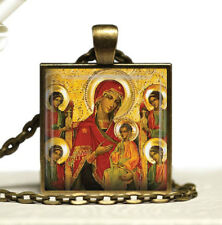 Russian Orthodox Icon Necklace Virgin Mary Theotokos  Saints Glass Tile Pendant