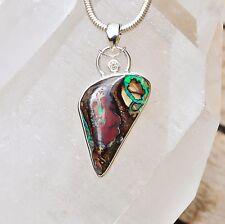 Boulder Opal Anhänger, 925er Silber, Edelsteinanhänger (11882), mit Brilliant