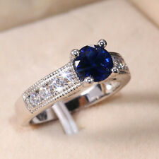 Fashion 925 Silver Rings Round Cut 2.15ct Blue Sapphire Wedding Rings Size 6