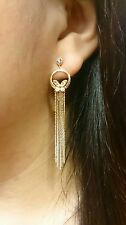 Fashion Rose Gold Plated Austrian Crystal Butterfly Tassel Earrings with Box