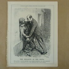 "7x10"" punch cartoon 1928 THE BREAKING OF THE MAFIA mussolini"