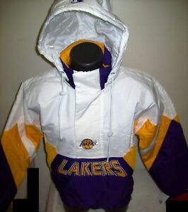LOS ANGELES LAKERS Limited Ed NBA Starter Hooded Half Zip Pullover Jacket WHITE