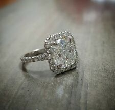 2.70ct Natural Radiant Halo Pave Diamond Engagement Ring - GIA Certified