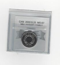 **2000 Aug. Family**Coin Mart Graded Canadian,  25 Cent, **MS-67 NBU**