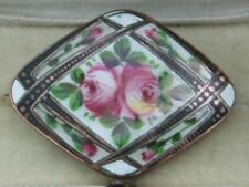 Bordered Enamel Pink Rose Brooch Very Beautiful Detailed French? Early Vintage