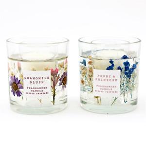 Les Fleurs Pressed Flower Gel Wax Candle Pot Peony-Primrose or Chamomile Blush