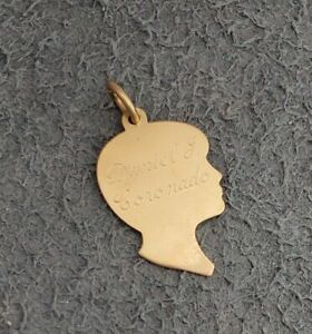 Engraved 14K GOLD James Avery BOY SILHOUETTE Charm, Solid yellow profile face