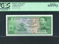 Ethiopia:P-18a,1 Dollar * Haile Selassie * 1961 * PCGS Gem UNC 65 PPQ *