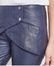 GLAM Pantalon Slim Bleu Nuit Marine Effet Ceinture Drapée Devant BEL AIR T 40