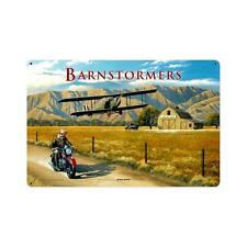 Barnstormers Biplane Aircraft Flight and Motorcycle Tin Metal Steel Sign 18x12