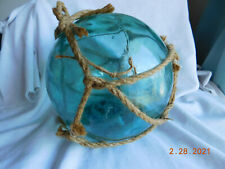 Large Vintage Blown Green Glass Witch'S Ball Fishing Net Float 9 1/2""