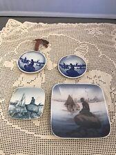 Vintage Royal Copenhagen B & G Langelinie Dish Mermaid Plate Lot Of 4