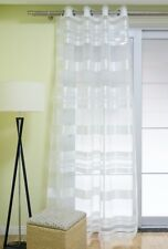 Ösenschal Vorhang mit Ösen Gardine Korsika weiß mit Querstreifen 140x245cm
