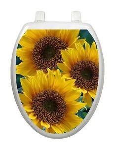 Toilet Tattoos Toilet Seat Lid  Sun Kissed Sunflowers  Reusable Yellow Decor