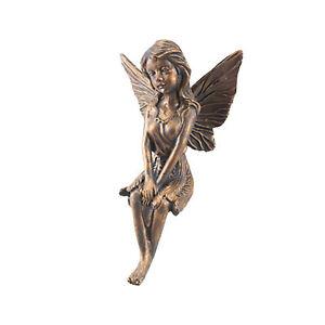 Bronze Effect Fairy Garden Statue Ornament - Sitting Fairy