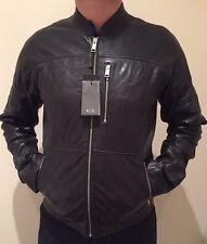 BNWT* Armani Exchange Men's Real Leather Jacket Large Black Jeans Designer