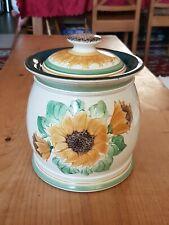Denby Craftman's Workshop Lyn Scott Large Sun Flower Biscuit Barrel In Good Con