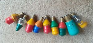 9 Vintage Hand Painted Glass Christmas Lights Bulbs - Brightly coloured - 20/3