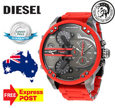 DIESEL Mr Daddy 2.0 Gunmetal Dial Quartz Red Silicone Strap Men's Watch DZ7370