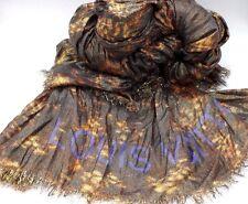 Rare LOUIS VUITTON Stephen Sprouse  LEOPARD Gold Cashmere Silk Stole Scarf