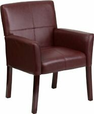 Flash Furniture Burgundy Leather Side Reception Chair with Mahogany Legs New