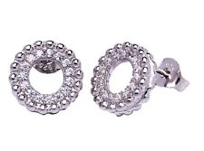 925 Sterling Silver Cubic Zirconia CZ Circle of Life Hollow Stud Earrings Boxed