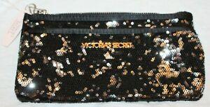 Victoria's Secret Women Sequin Zip Closure Clutch Make Up Bag Two Pocket NWT $58