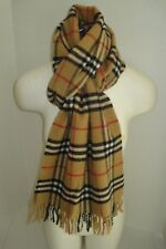 BURBERRY LONDON NOVA CHECK FRINGED LAMBSWOOL UNISEX SCARF, MADE IN ENGLAND