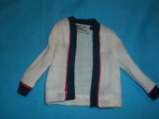 Vintage 60's Ken~Time for Tennis #790 Off-White Sweater w/Blue & red trim #A
