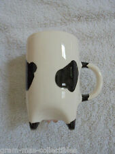 "COW MUG BLACK & WHITE HERMITAGE POTTERY 4 "" H 2"" D PINK UDDERS ON BOTTOM 1996"