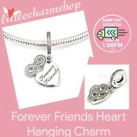 New Authentic PANDORA Silver Forever Friends Heart Hanging Charm - 791948CZ