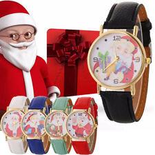 Women Santa Claus Patetrn Quartz Casual Leather Strap Wrist Watch Christmas Gift