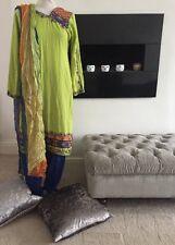 SIZE MEDIUM Green Blue Embellished Salwar Kameez Dubatta Size 12-14 Punjabi Suit