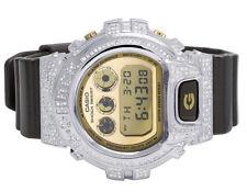Mens Ladies Casio G Shock 6900 Black Glossy Genuine White Diamond Watch 3.0 Ct
