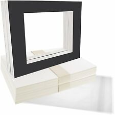Set of 50 8x10 BLACK photo mats with WhiteCore for 5x7 +Backing +Bags