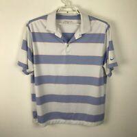 Nike Golf Mens Short Sleeve Striped Polo Shirt Dri-Fit Blue White Orange Size XL