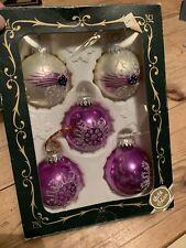 Glas Baumschmuck Vintage Christmas Baubles Boxed 5 Balls Stunning Glass